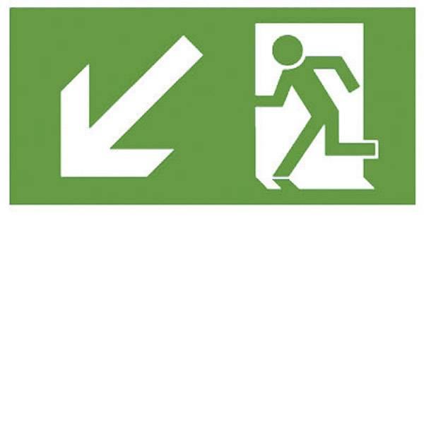 Segnaletica per uscite d`emergenza - B-SAFETY F563-D Indicazione via di fuga verso il basso a sinistra -