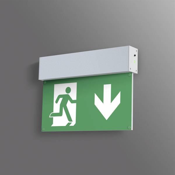 Segnaletica per uscite d`emergenza - B-SAFETY BR 558 030 Indicazione via di fuga illuminata Montaggio a parete -