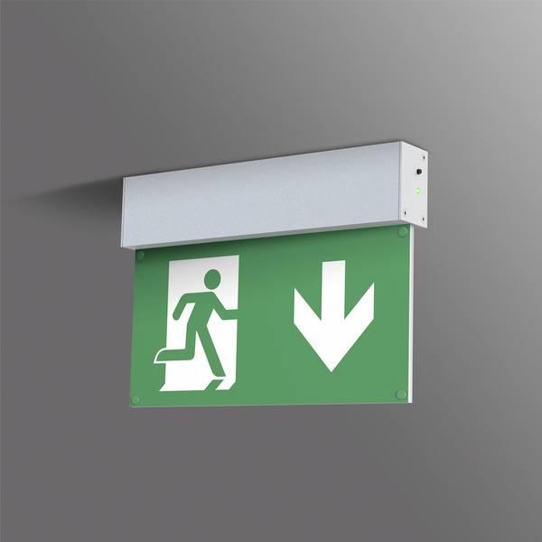 Segnaletica per uscite d`emergenza - B-SAFETY BR 559 030 Indicazione via di fuga illuminata Montaggio a soffitto -