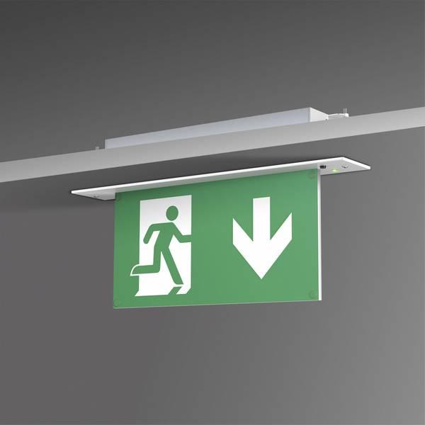 Segnaletica per uscite d`emergenza - B-SAFETY BR 554 030 Indicazione via di fuga illuminata Montaggio da incasso a soffitto -