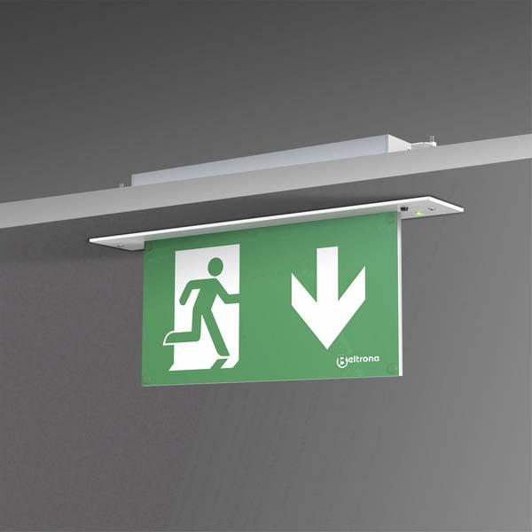 Segnaletica per uscite d`emergenza - Indicazione via di fuga illuminata Montaggio da incasso a soffitto Beltrona MEXM7.25.06 -