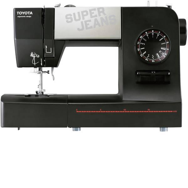 Macchine da cucire - Toyota Nähmaschinen Macchina per cucire a braccio libero per jeans SUPERJ15 Funzione pelle Nero, Argento (opaco) -