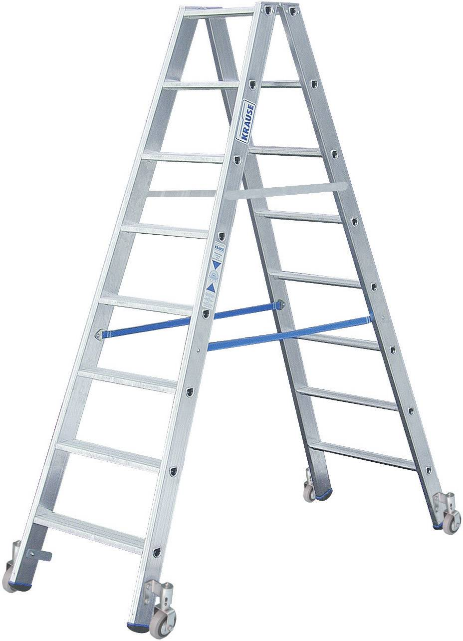 Altezza Gradini Scala krause 124869 alluminio scala doppia a gradini mobile altezza operativa  max: 3.40 m argento 12.9 kg