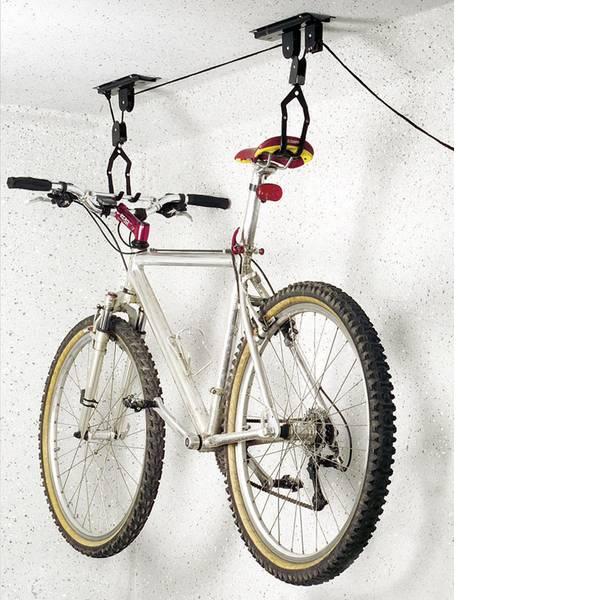 Supporti e cavalletti per biciclette - Sollevatore a soffitto Numero posti parcheggio=1 Eufab 16411 Acciaio Nero -
