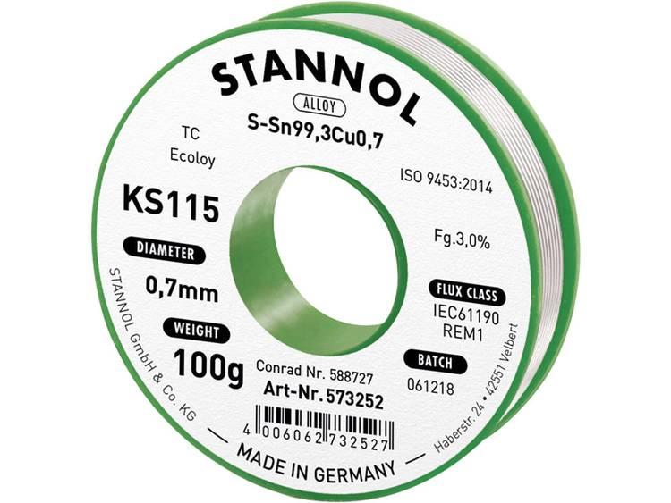 Stannol KS115 Soldeertin, loodvrij Spoel SN99Cu1 100 g 0.7 mm