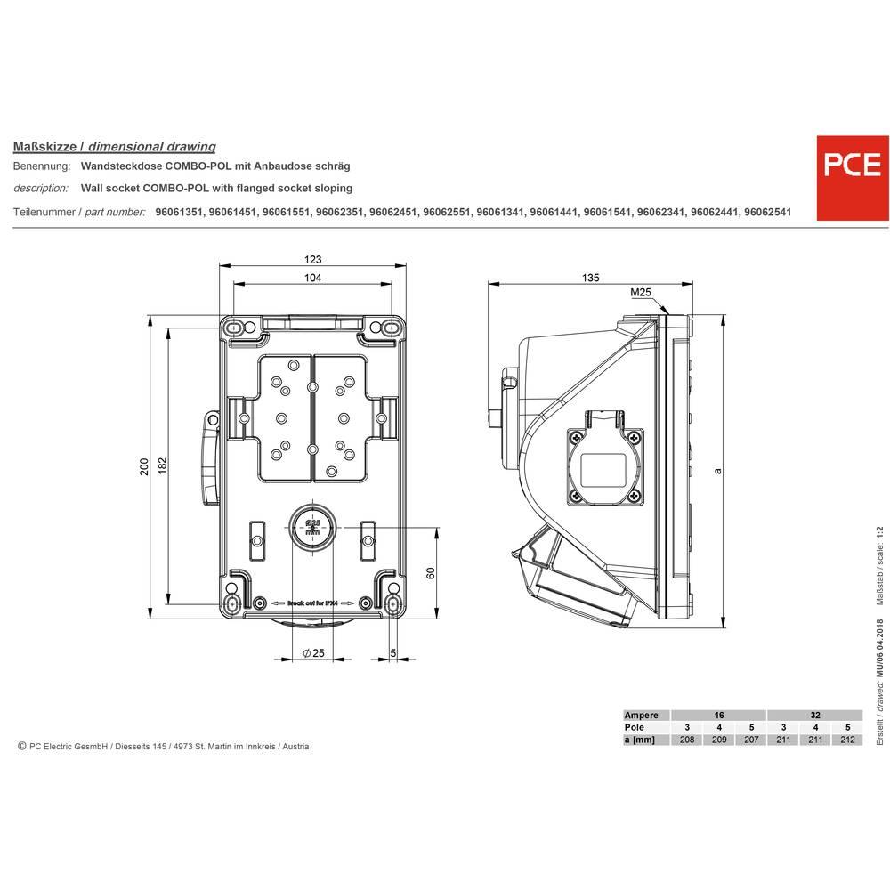 PCE 96061551 CEE combinatiedoos 16 A 1 SSD IP44
