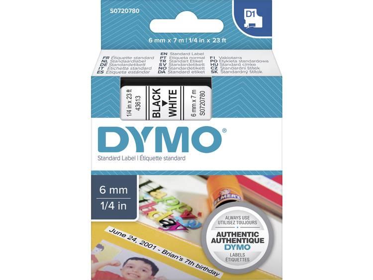 Labeltape Dymo 43613 D1 720780 6mmx7m zwart op wit
