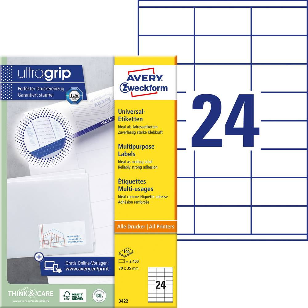 Avery-Zweckform 3422 Etiketter 70 x 35 mm Papper Vit 2400 st Permanent Universaletiketter Bläck, Laser, Kopia 100 Papper DIN A4