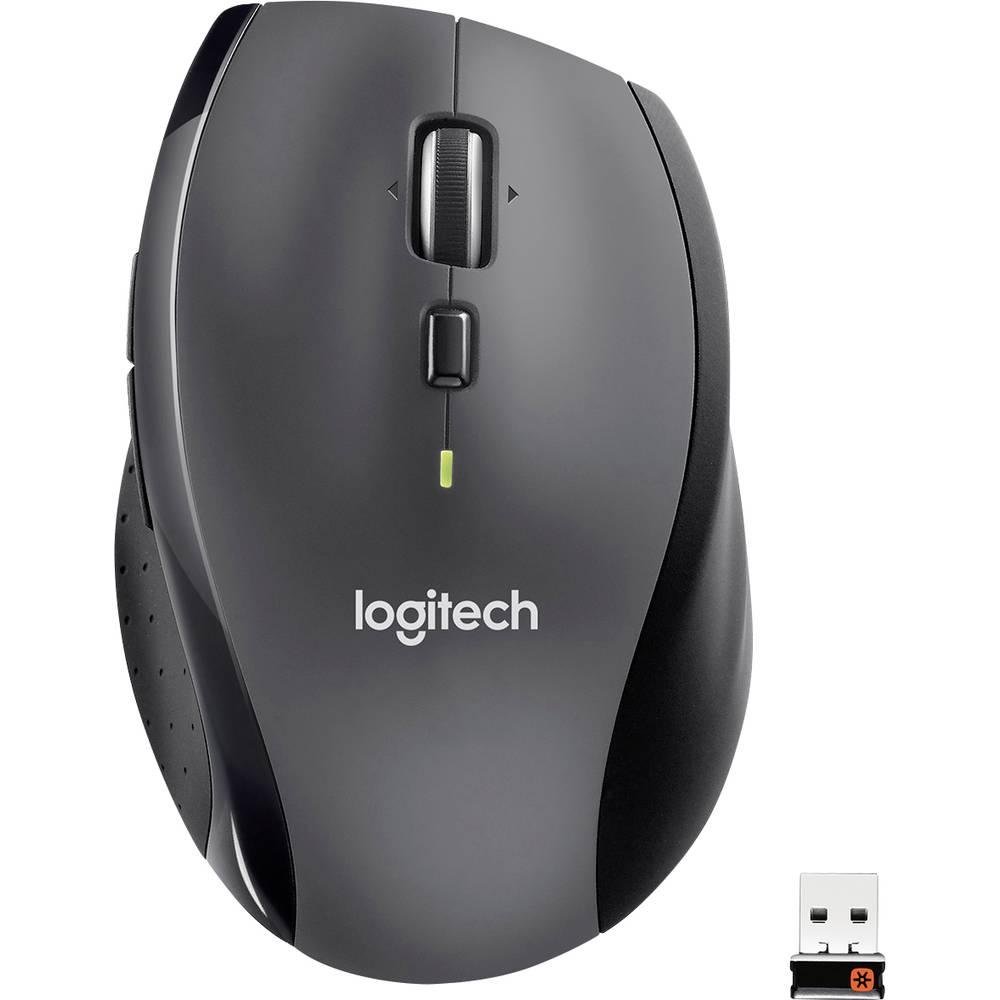 Logitech M705 Marathon Trådlös WiFi mus Laser Ergonomisk Svart, Silver