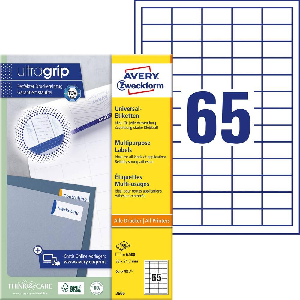 Avery-Zweckform 3666 Etiketter 38 x 21.2 mm Papper Vit 6500 st Permanent Universaletiketter Bläck, Laser, Kopia 100 Papper DIN A4