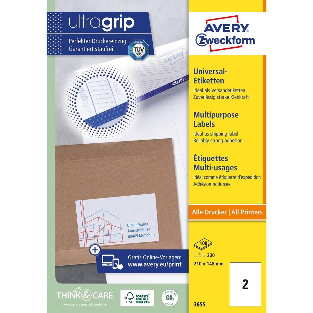 Avery-Zweckform 3655 Etiketter 210 x 148 mm Papper Vit 200 st Permanent Universaletiketter Bläck, Laser, Kopia 100 Papper DIN A4
