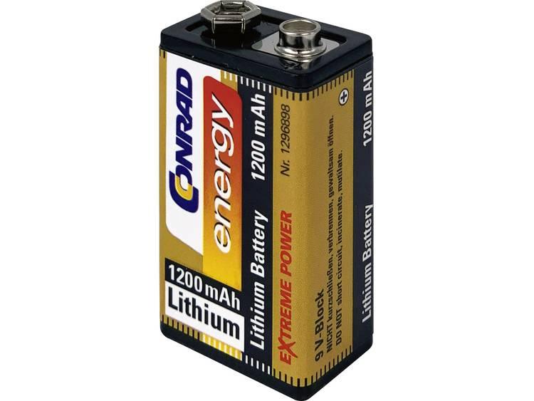 Conrad energy Extreme Power 6LR61 9V batterij (blok) Lithium 1200 mAh 9 V 1 stuk(s)