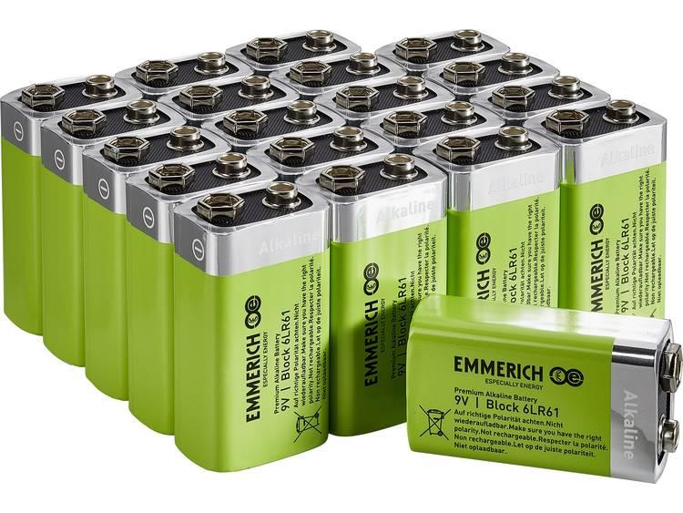 Emmerich Industrial 6LR61 9V batterij (blok) Alkaline 500 mAh 20 stuk(s)