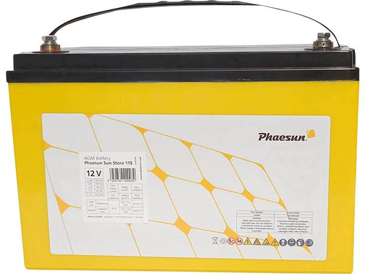 Phaesun Sun-Store 125 340093 Solar-accu 12 V 126 Ah Loodvlies (AGM) (b x h x d) 330 x 220 x 173 mm M8-schroefaansluiting