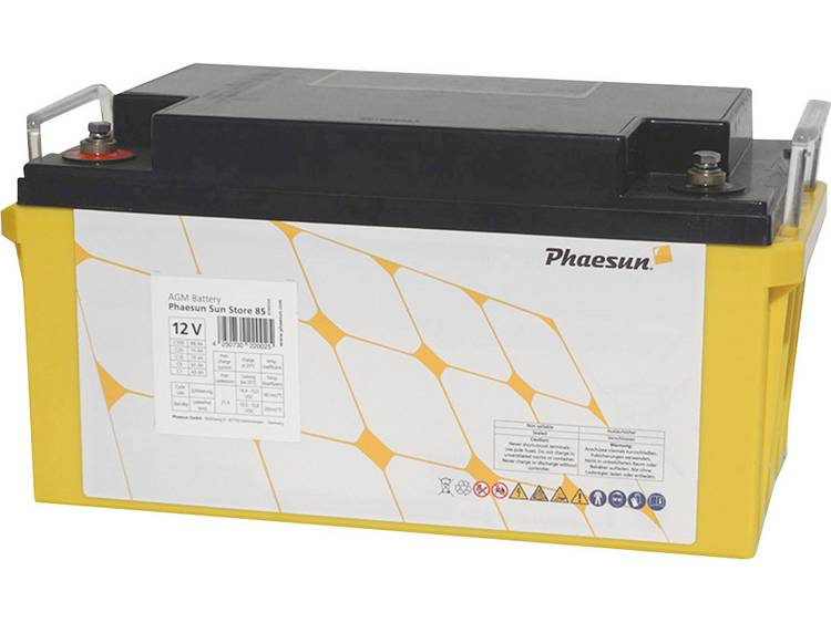 Phaesun Sun-Store 90 340094 Solar-accu 12 V 88 Ah Loodvlies (AGM) (b x h x d) 348 x 178 x 167 mm M6-schroefaansluiting