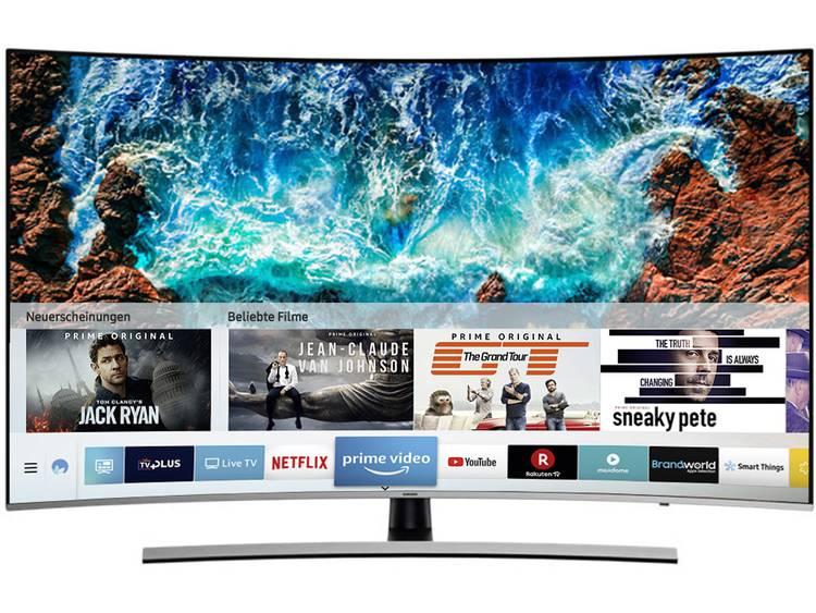 Samsung UE55NU8509 LED-TV 138 cm 55 inch Energielabel: A (A++ – E) DVB-T2, DVB-C, DVB-S2, UHD, Curved, Smart TV, WiFi, PVR ready Zwart, Zilver