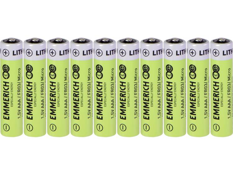 AAA batterij (potlood) Emmerich Industrial FR03 Lithium 1100 mAh 10 stuk(s)