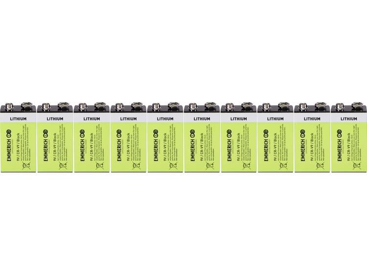 9V batterij (blok) Lithium Emmerich Industrial 6LR61 800 mAh 10 stuk(s)