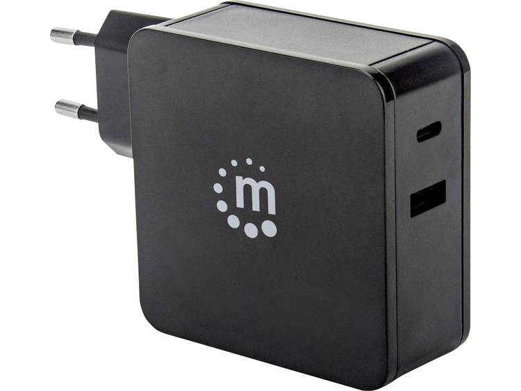 Manhattan 180214 USB-oplader Thuis Uitgangsstroom (max.) 3 A 2 x USB 2.0 bus A, USB-C bus USB Power Delivery (USB-PD)