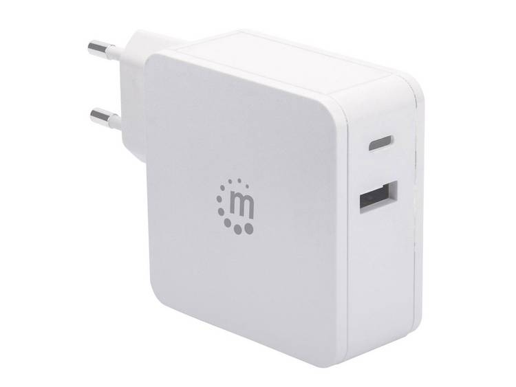 Manhattan 180221 USB-oplader Thuis Uitgangsstroom (max.) 3 A 2 x USB 2.0 bus A, USB-C bus USB Power Delivery (USB-PD)
