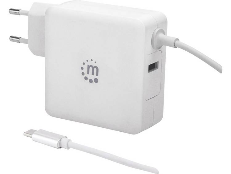 Manhattan 180245 USB-oplader Thuis Uitgangsstroom (max.) 3 A 2 x USB 2.0 bus A, USB-C stekker USB Power Delivery (USB-PD)