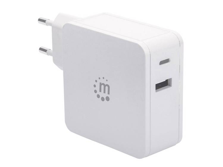 Manhattan 180146 USB-oplader Thuis Uitgangsstroom (max.) 3 A 2 x USB 2.0 bus A, USB-C bus USB Power Delivery (USB-PD)