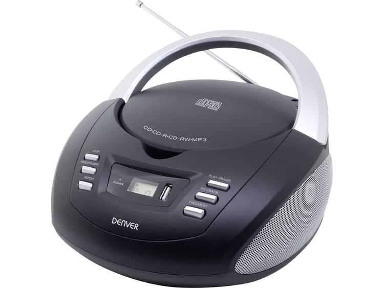 Denver TCU-211 FM CD-radio AUX, USB, CD Zwart, Grijs