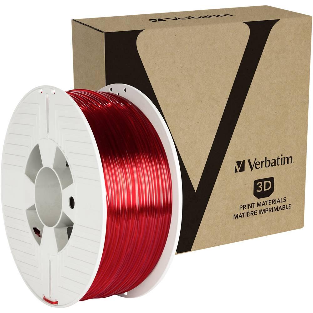 Verbatim 55062 3D-skrivare Filament PETG 2.85 mm 1 kg Röd (transparent) 1 st