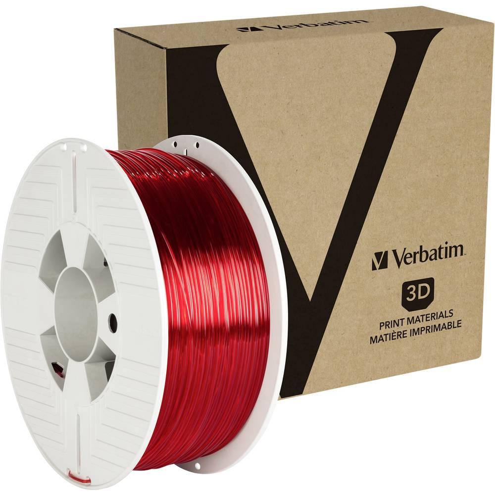 Verbatim 55054 3D-skrivare Filament PETG 1.75 mm 1 kg Röd (transparent) 1 st