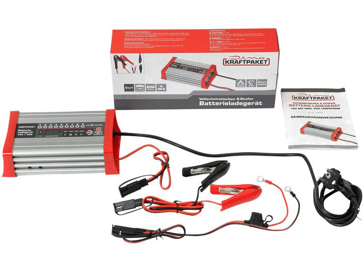 Druppellader Dino KRAFTPAKET KFZ Batterieladegerät 20A-12V mit Camping-, Nacht-und Memory-Speicher