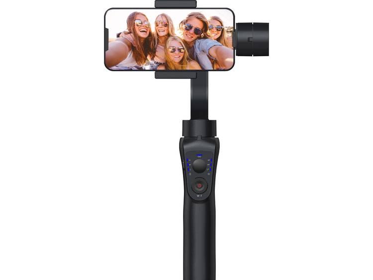 Gimbal elektrisch GoXtreme GX1 Zwart Bluetooth, incl. handlus, inkl. smartphonehouder, incl. tas, Voor smartphones en GoPro