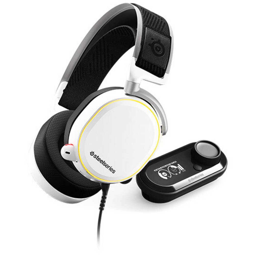Steelseries ARCTIS PRO+ GAME DAC Gaming-headset USB, 3,5 mm teleplugg Sladd Over Ear Vit, Svart