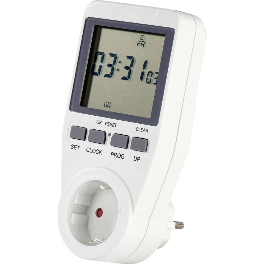 Stopcontact-schakelklok Digitaal Dagprogramma, Weekprogramma 3680 W IP20 AAN-UIT-programma, Zomer- e