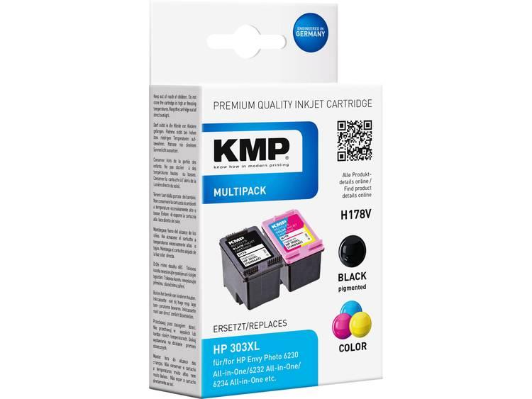 KMP Inkt combipack vervangt HP 303XL Compatibel Zwart Cyaan Magenta Geel H178