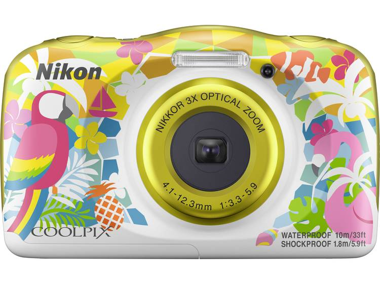 Nikon W150 Hawaii Digitale camera 13.2 Mpix Zoom optisch: 3 x Bont, Wit Waterdicht, Stofdicht, Schokbestendig, Bluetooth, Onderwatercamera