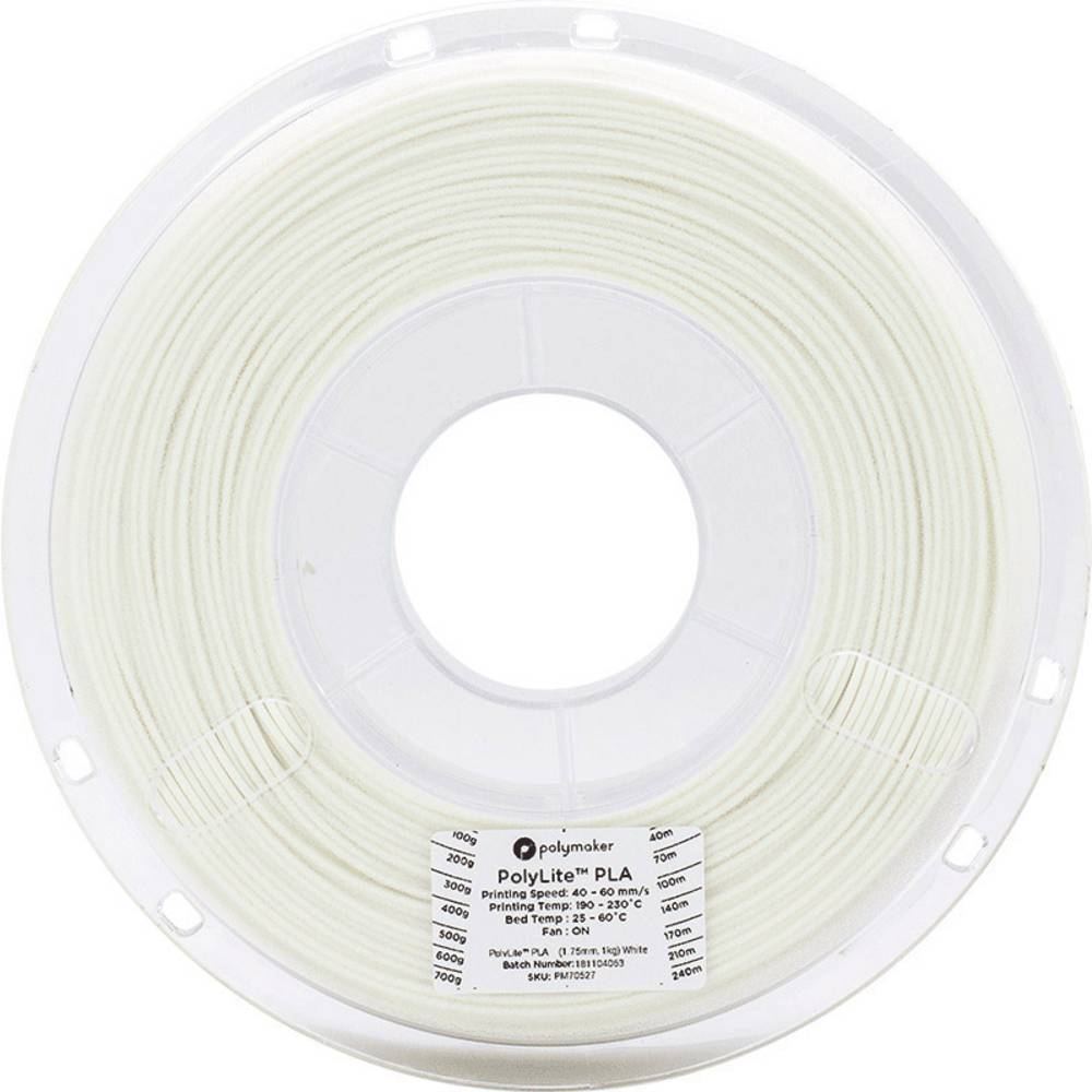 Polymaker 70527 3D-skrivare Filament PLA-plast 1.75 mm 1 kg Vit PolyLite 1 st