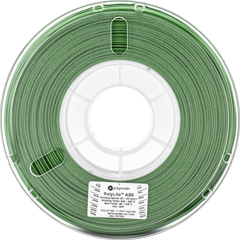 Polymaker 70065 3D-skrivare Filament ABS-plast 1.75 mm 1 kg Grön PolyLite 1 st