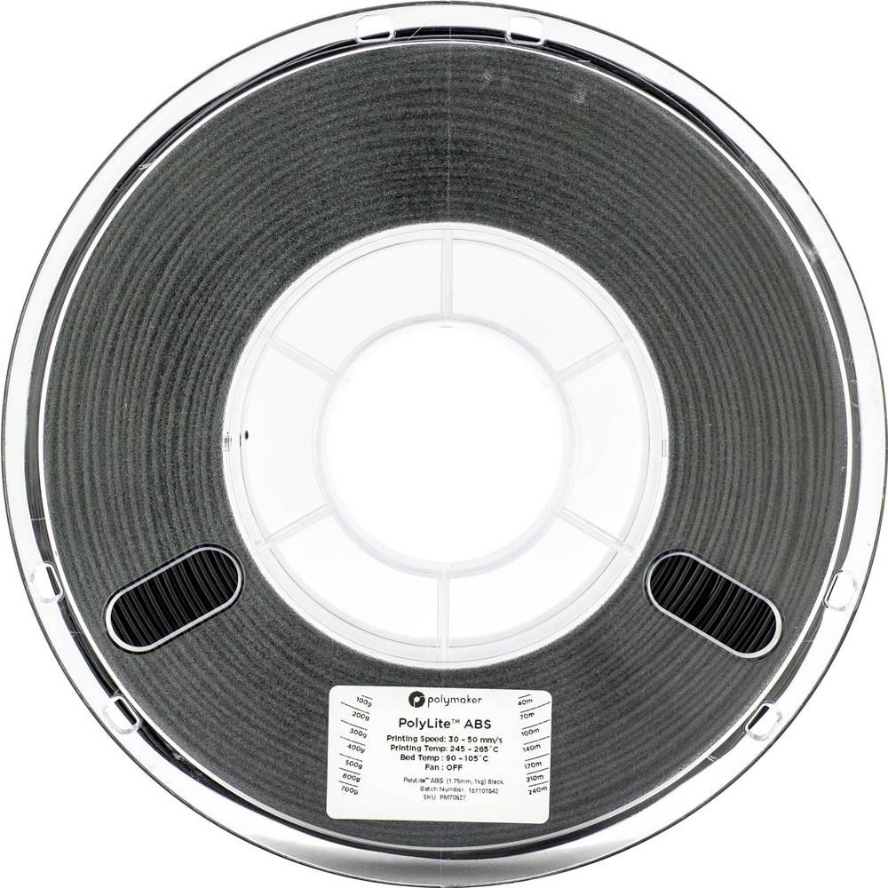 Polymaker 70628 3D-skrivare Filament ABS-plast 2.85 mm 1 kg Svart PolyLite 1 st