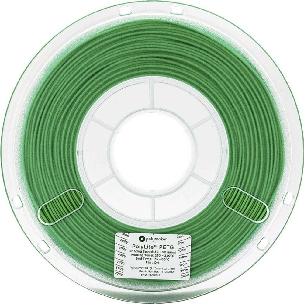 Polymaker 70068 3D-skrivare Filament PETG 2.85 mm 1 kg Grön PolyLite 1 st