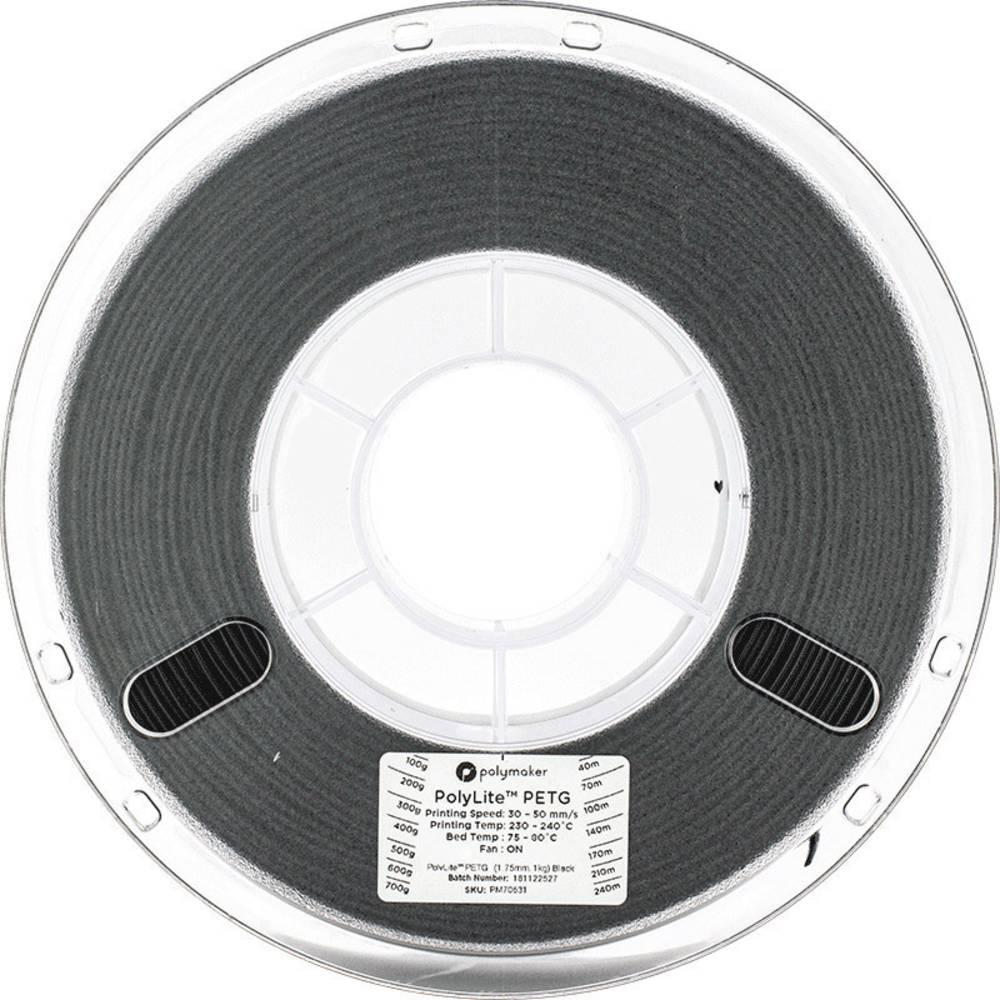 Polymaker 70631 3D-skrivare Filament PETG 1.75 mm 1 kg Svart PolyLite 1 st