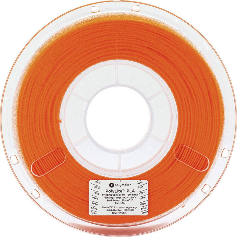 Polymaker 70535 3D-skrivare Filament PLA-plast 1.75 mm 1 kg Orange PolyLite 1 st