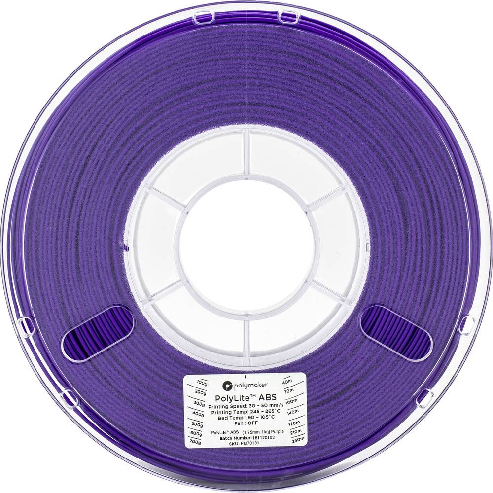 Polymaker 70131 3D-skrivare Filament ABS-plast 1.75 mm 1 kg Violett PolyLite 1 st