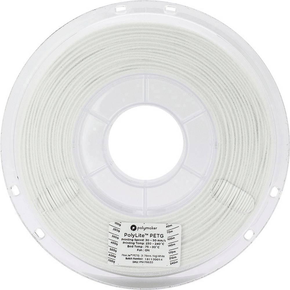 Polymaker 70634 Polymaker PolyLite PETG White / 2,85 mm / 1 KG 3D-skrivare Filament PETG 2.85 mm 1 kg Vit PolyLite 1 st