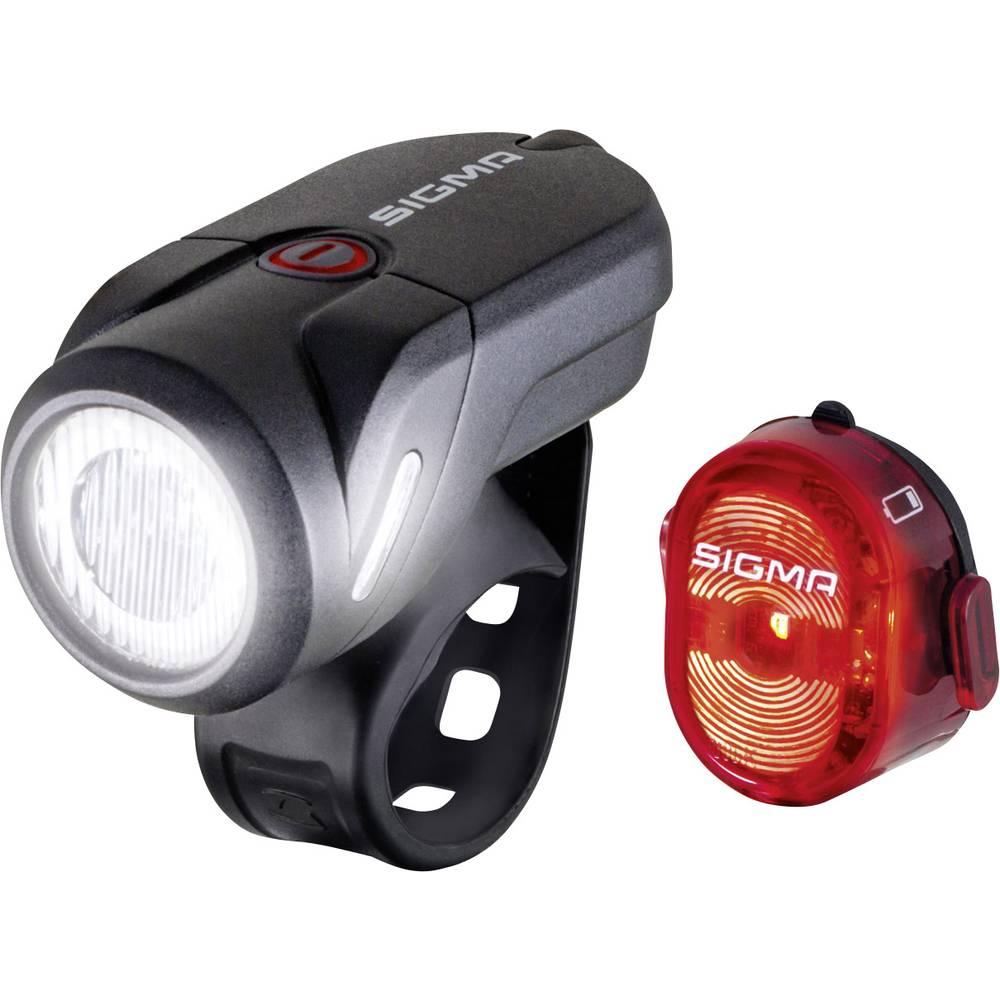 Sigma Cykelbelysning-set AURA 35 / Nugget Set LED Uppladdningsbara batteri Svart