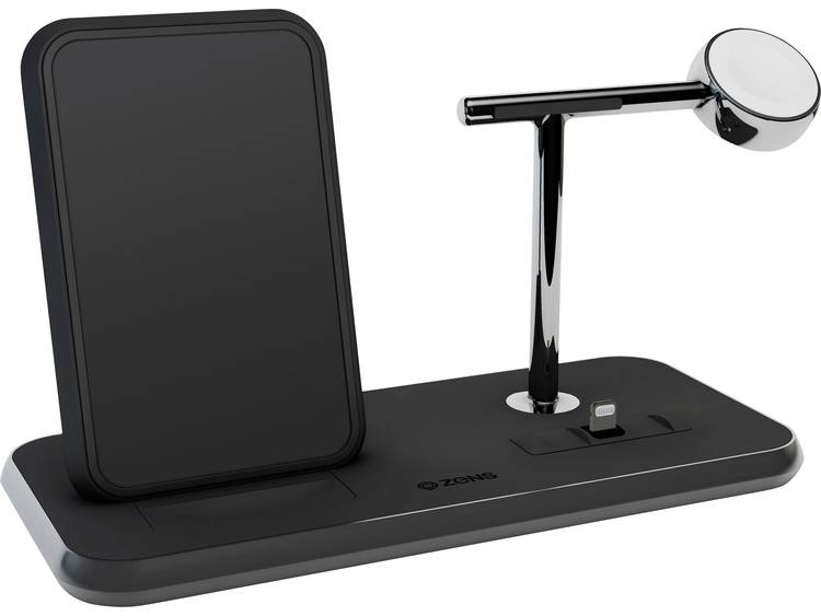 ZENS Stand +Apple-Watch +Dock Inductielader 2000 mA Uitgangen Qi-standaard, USB, Apple dock-stekker Lightning Zwart