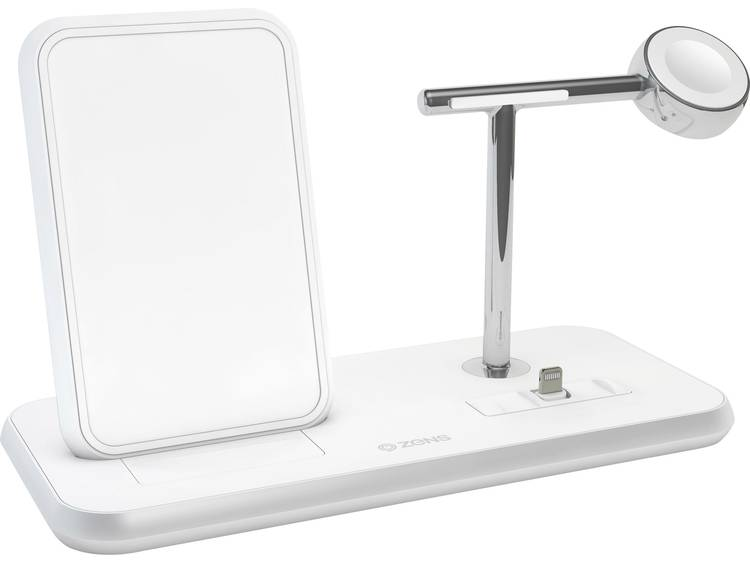 ZENS Stand +Apple-Watch +Dock Inductielader 2000 mA Uitgangen Qi-standaard, USB, Apple dock-stekker Lightning Wit