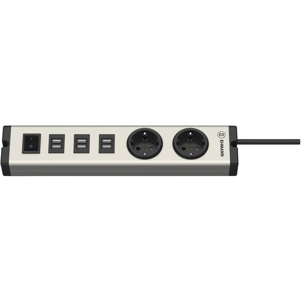 Ehmann 0601x0a02203303 USB-oplader Thuis 6 x, 2 x USB, Randaarde stopcontact