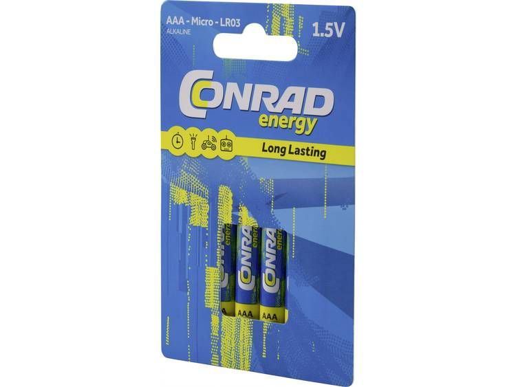 AAA batterij (potlood) Conrad energy LR03 Alkaline 1300 mAh 1.5 V 4 stuk(s)