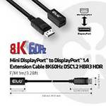 Club3D Mini DisplayPort naar DisplayPort 1.4 verlengkabel 8K60Hz DSC1.2 HBR3 HDR B/St 1m