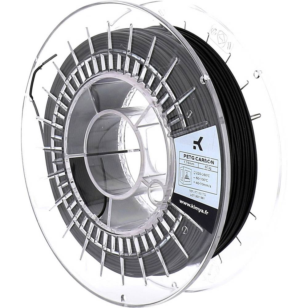 Kimya PT1001TQ PETG-Carbon 3D-skrivare Filament PETG 1.75 mm 500 g Svart 1 st